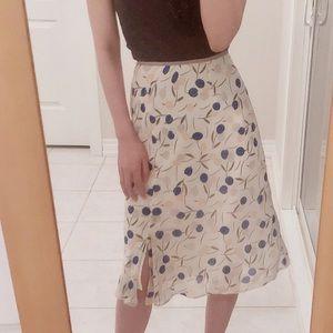 Japanese vintage midi skirt floral white blue 38